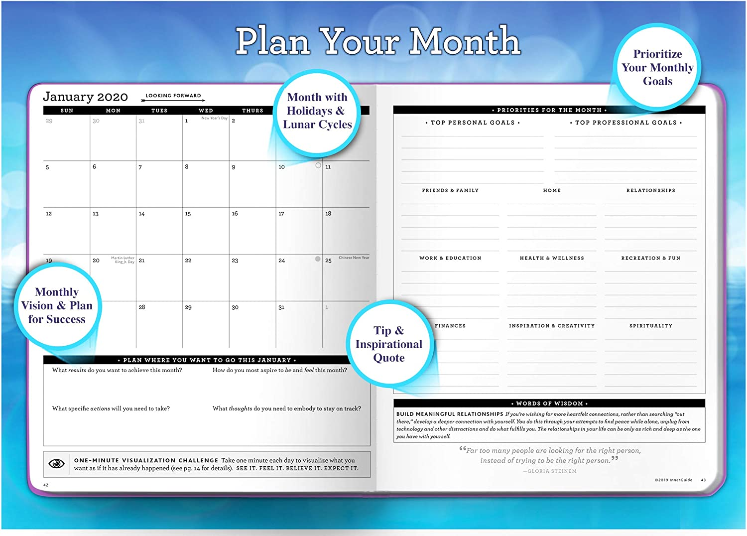 InnerGuide 2020 Goal & Life Planner, Weekly & Monthly Organizer, Appointment on