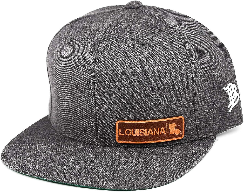 OSFA//Black Branded Bills /'Louisiana Native Leather Patch Snapback Hat