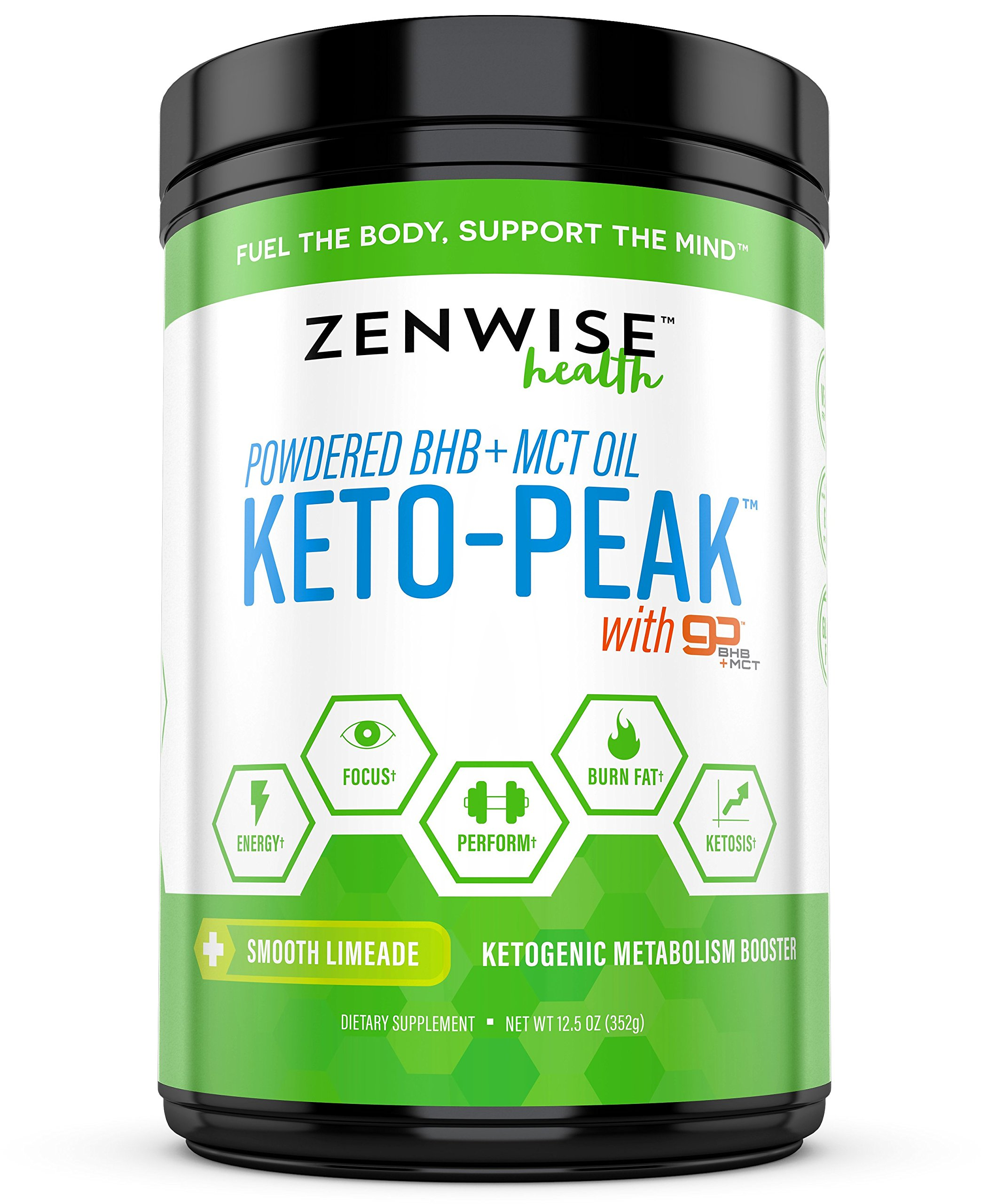 Keto BHB Salts + MCT Oil Powder - Ketogenic Diet Supplement with goBHB+MCT - Beta Hydroxybutyrate Exogenous Ketones + C8 & C10 Triglycerides - Ketosis + Energy - Smooth Lime by Zenwise Health