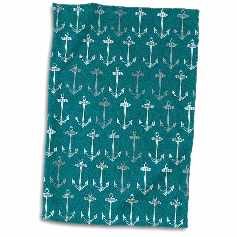 3D Rose Teal Blue Pattern-Vintage Nautical Turquoise Sailor Theme-Aqua Sea Ocean Ship Anchors Hand//Sports Towel 15 x 22 Multicolor 3dRose twl/_120196/_1