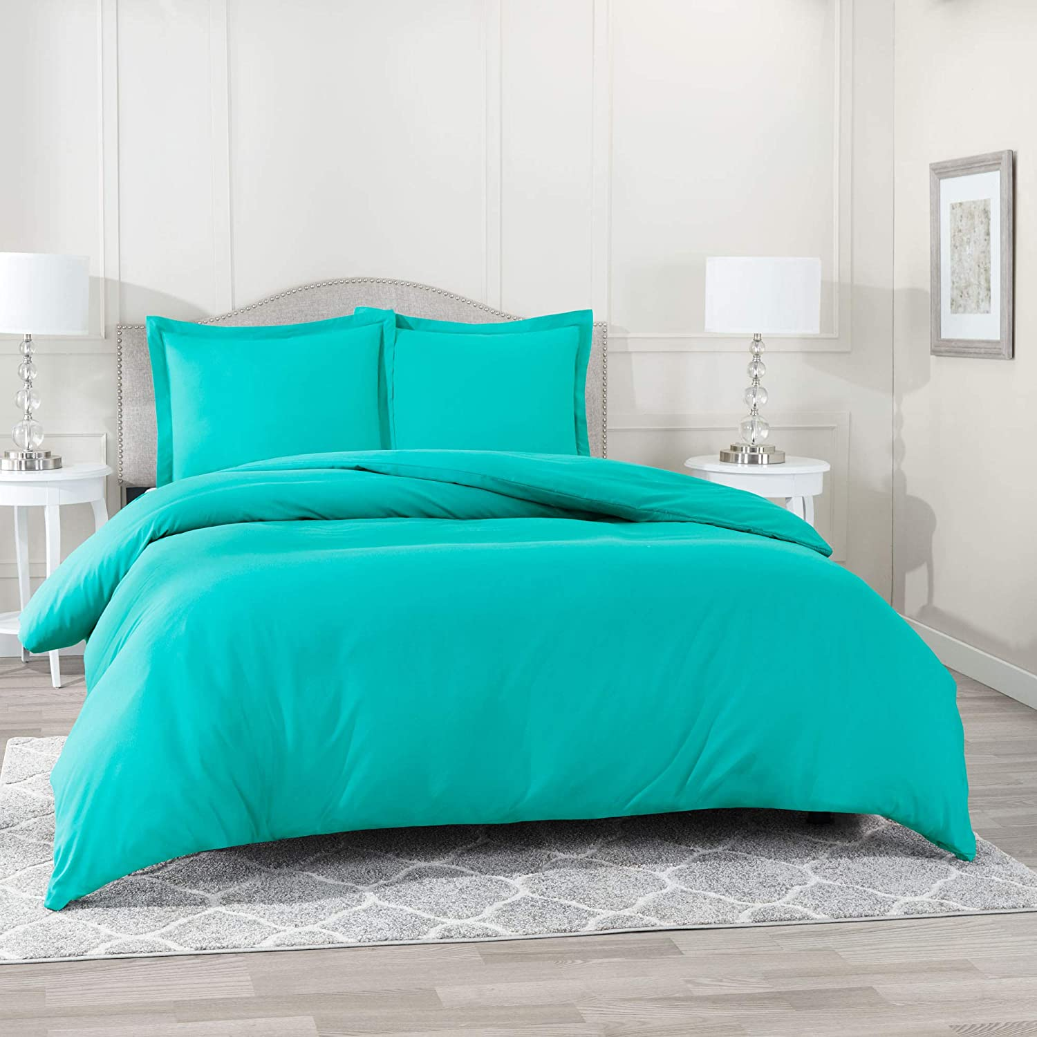 "Nestl Bedding Duvet Cover 3 Piece Set – Ultra Soft Double Brushed Microfiber Hotel Collection – Comforter Cover with Button Closure and 2 Pillow Shams, Teal - California King 98""x104"""