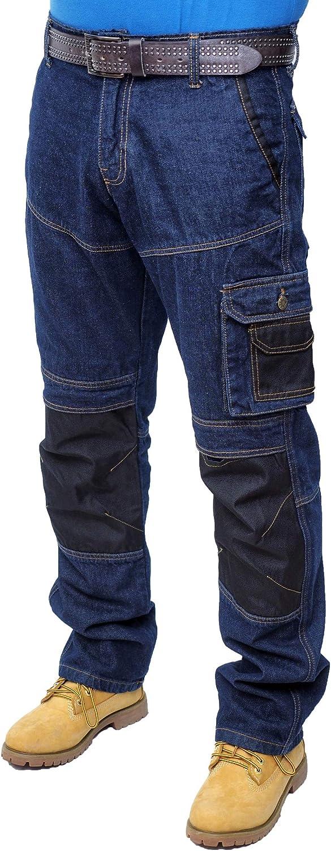 BLACK-007, 28W X 32L Prime Pantalones de Trabajo para Hombre BLJ-02