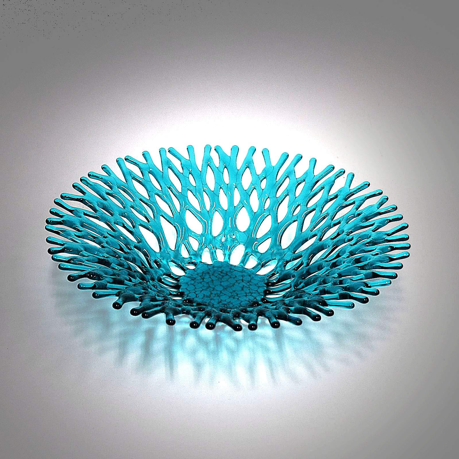 Fan Top Lacy Glass Art Sea Coral Fruit Bowl in Aqua Blue Green