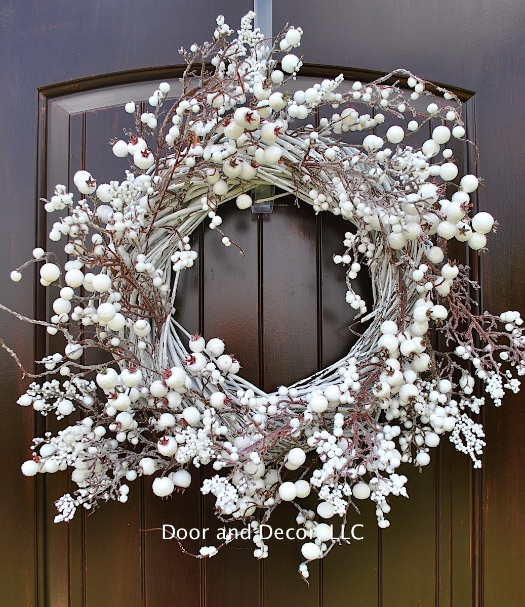 Winter and Christmas Front Door Wreath with White Berries on Grapevine Base-20-22