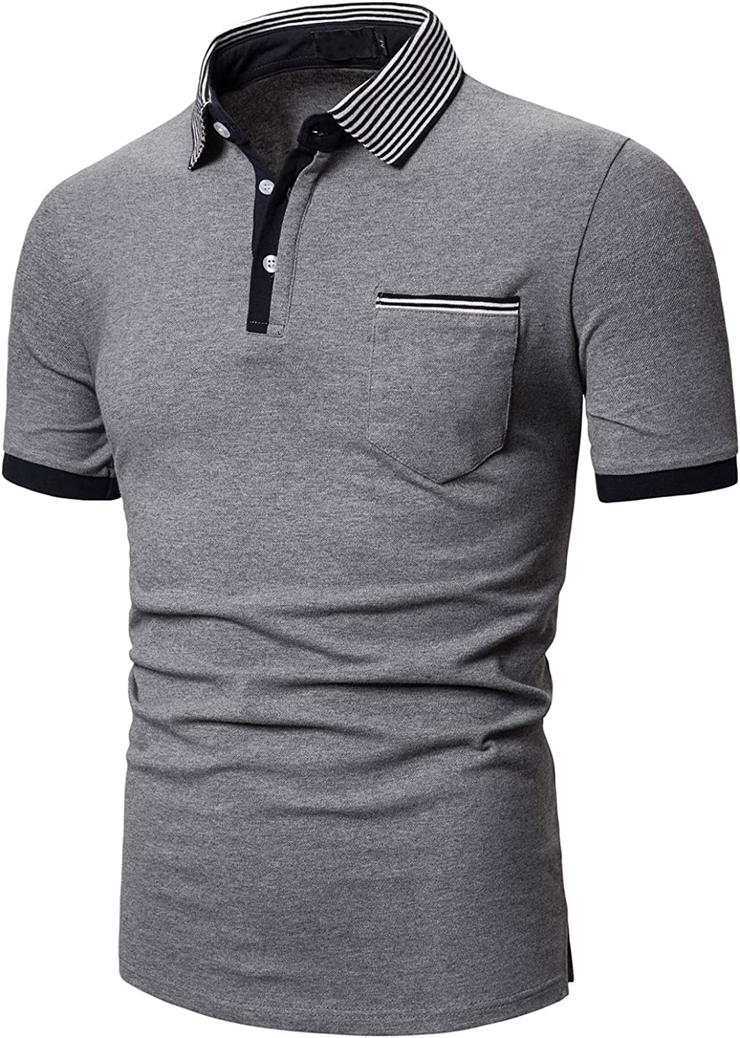 carinacoco Polo Shirts for Men Short Sleeve Casual Striped Collar Cotton Basic T-Shirt Top