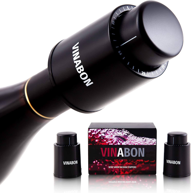 VINABON Wine Stopper Vacuum Pump [Set of 2] - Wine Stoppers Wine Corks - Wine Preserver Wine Bottle Stoppers - Vacuum Wine Pump Bottle Keeper Saver - Wine Cork Air Sealer Stopper - eBook Wine Guide