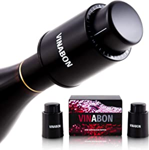 VINABON Wine Stopper Vacuum Pump [Set of 2] - Wine Stoppers Wine Corks - Wine Preserver Wine Bottle Stoppers - Vacuum Wine Pump Bottle Keeper Saver - Wine Cork Air Sealer Stopper - eBook Wine Guide