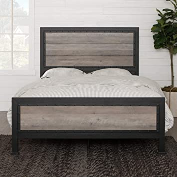 WE Furniture Queen Bed, Grey Wash