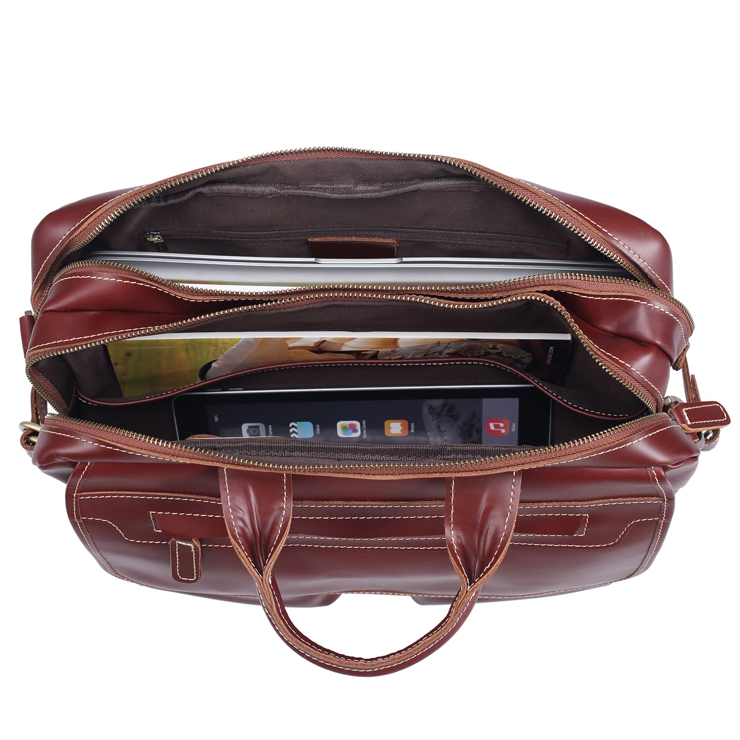 Polare Italian Leather Briefcase Should Bag Attache Fit 15.6inch Laptop by Polare (Image #6)