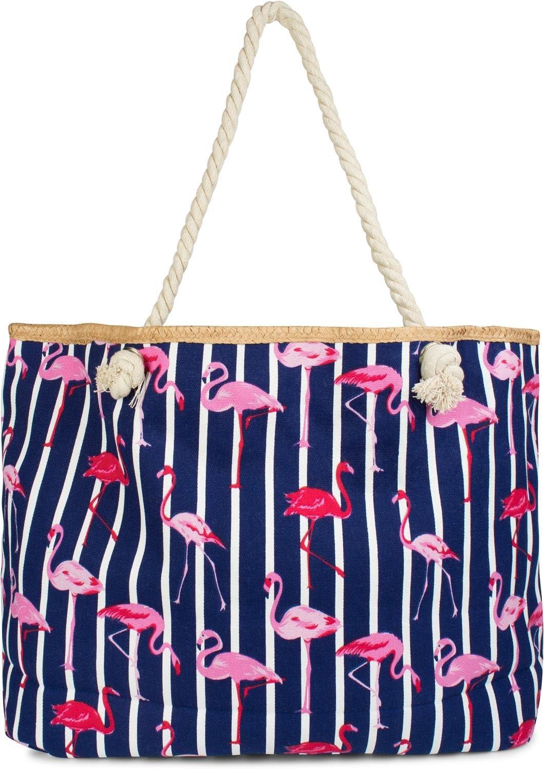 Color:Turquesa-Blanco Cremallera Bolso para Compras 02012287 Bolso de Hombro styleBREAKER Bolso para la Playa XXL de Mujer con Estampado de Rayas y Estampado frutal de sand/ías