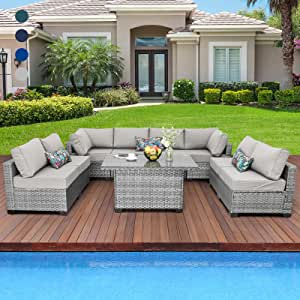 """9-Piece Wicker OutdoorSectional Couch Set PE Rattan Patio Furniture Conversation Set Adjustable Storage Table with Thicken(5"""") Anti-Slip Grey Cushions Furniture Cover"""