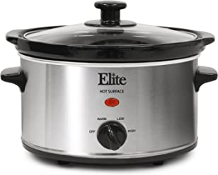 Elite Cuisine MST-275XS Electric Slow Cooker, Adjustable Temp, Entrees, Sauces,