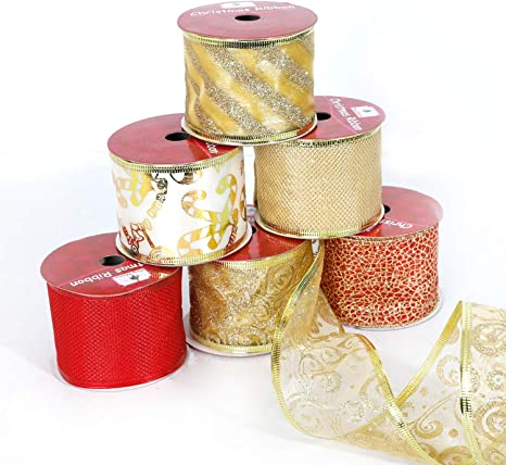 CHRISTMAS RIBBON RED SHEER WITH GOLD STAR EDGING GIFT WRAPPING DECORATION CRAFT