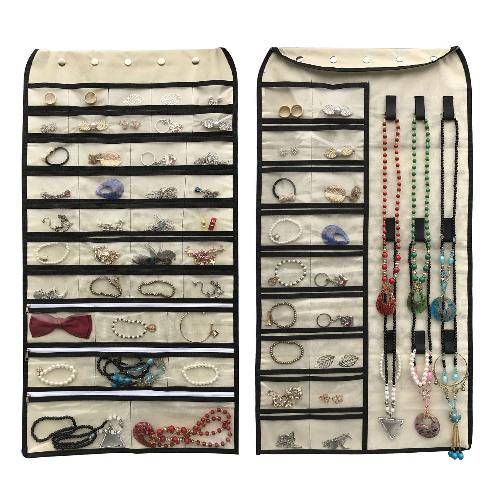 BFOX Hanging Jewelry Organizer,Double Sided 56 Pockets&9 Velcro Hook for Holding Jewelry (Beige)