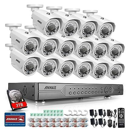 ANNKE Kit Sistema de seguridad de 16 Cámaras de vigilancia 720P Metal(DVR 24 Canales