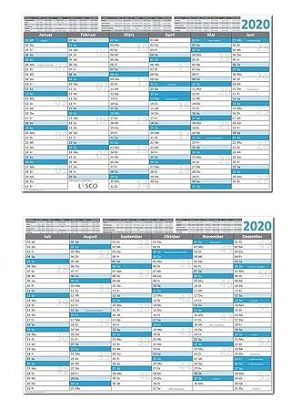 Calendrier 2020 Avec Jour Ferie.Calendrier De Table Din A4 2020 Lot De 10 Format 210 X 297