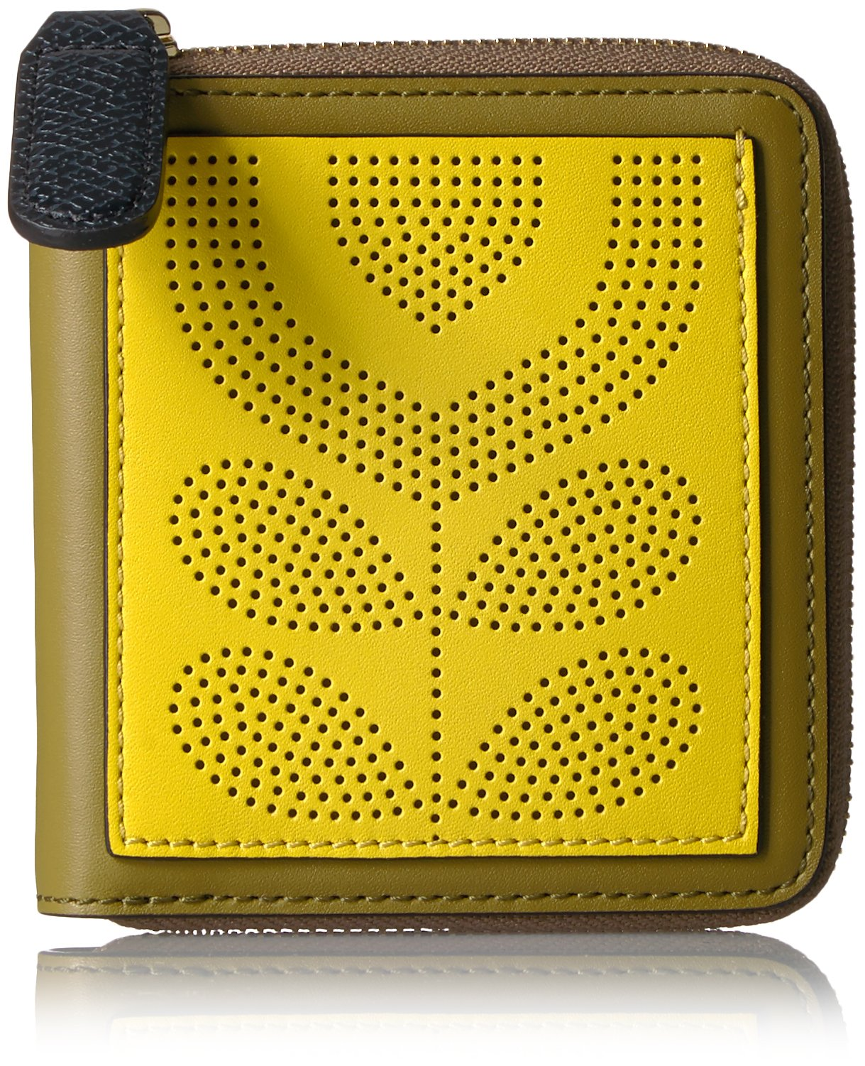 Punched Pocket Leather Square Zip Wallet Wallet, Moss, One Size