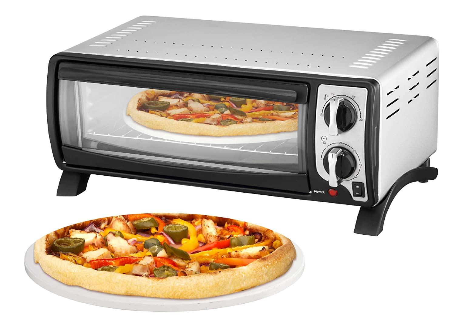 Efbe-Schott SC MBO 1000 SI Pizza and Multi-Oven with High Quality Pizza Stone includes 30 cm Diameter, 1400 W, Silver Efbe Elektrogeräte GmbH