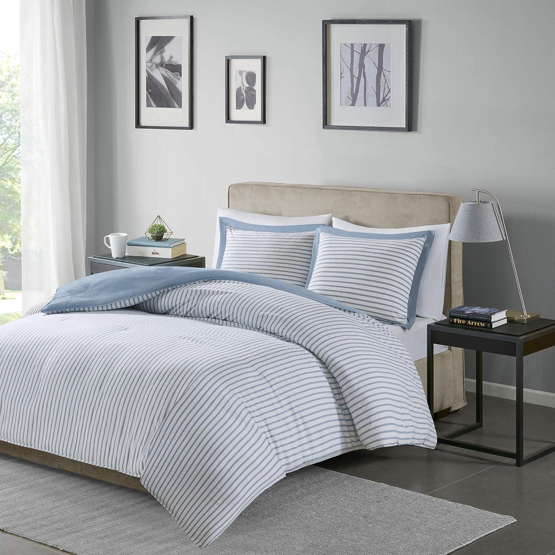 Madison Park Essentials Hayden Ultra Soft Microfiber Reversible Hypoallergenic Duvet Cover Bedding Set, Twin Size, Heathered Blue Stripes 2 Piece