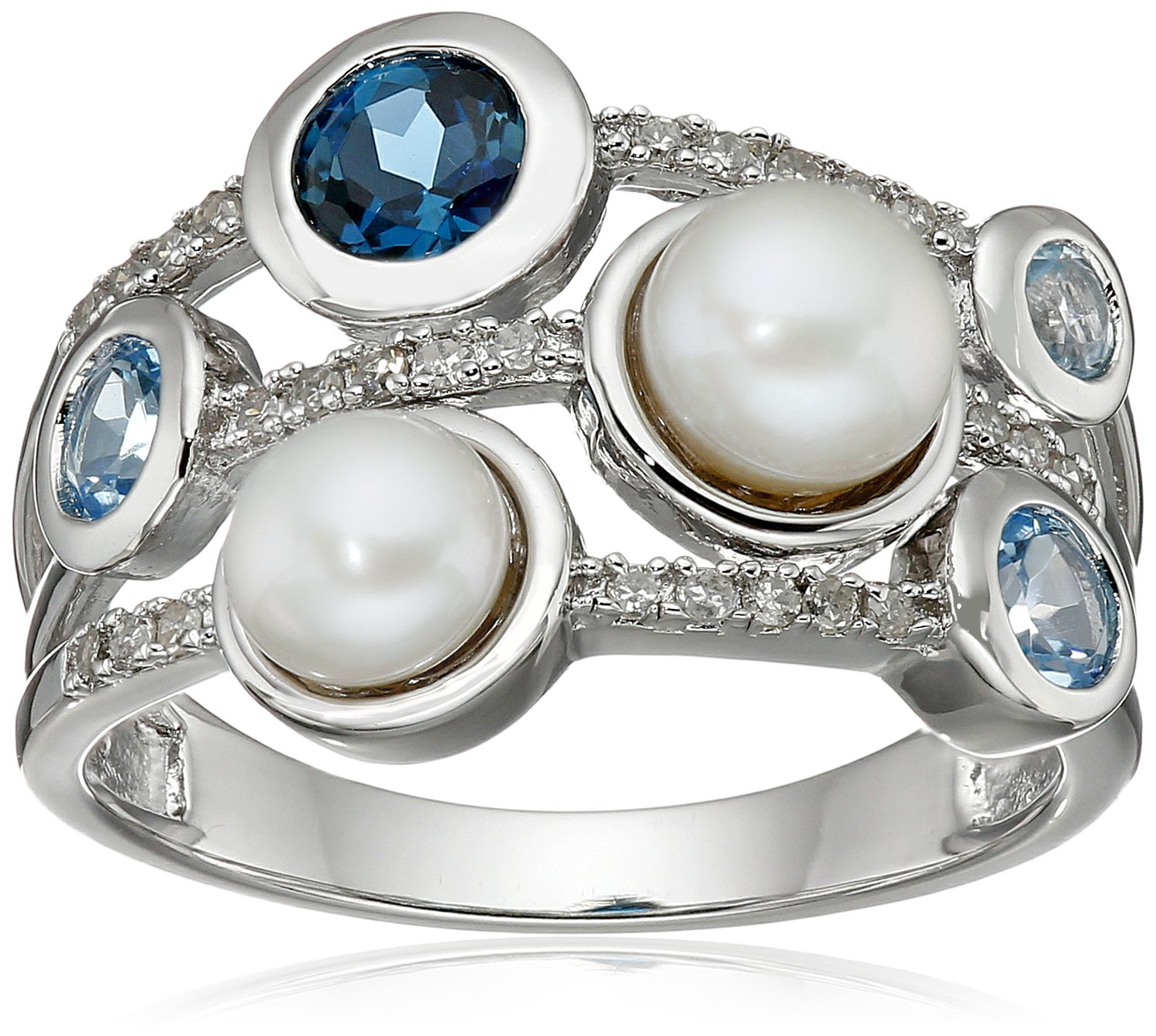 Sterling Silver Freshwater Cultured Pearl, Mixed Blue Topaz and Diamond Stacked Design Ring (1/10cttw), Size 7