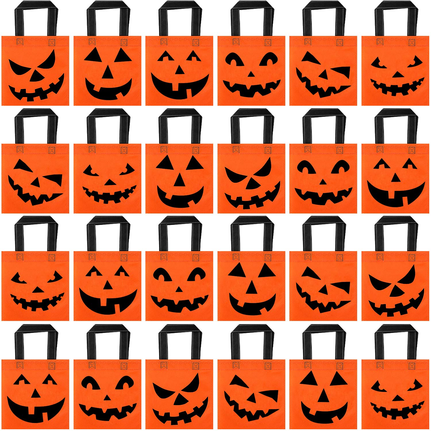 24 Pieces Halloween Jack-o-Lantern Pumpkin Tote Bags Halloween Non-Woven Candy Bags Trick or Treat...