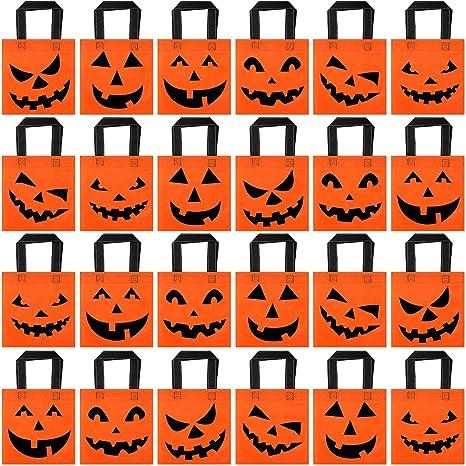 24 Piezas de Bolsa de Mano de Calabaza Jack-o-Lantern de Halloween Bolsa de Dulces No Tejida Bolsa de Truco o Trato para Fiesta de Halloween Favores ...