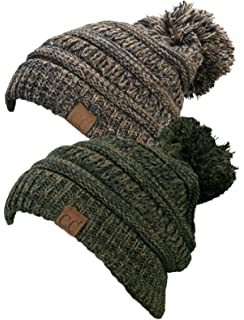 5b4464bdda49d Funky Junque Chunky Marled Cable Knit Warm Soft Multicolored Pom Beanie Hat