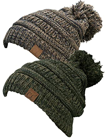 1888f6eed02 Funky Junque H-6800POM-2-816.0722 Pom Beanie Bundle - Brown #21 & Green #9  (2 Pack) at Amazon Women's Clothing store: