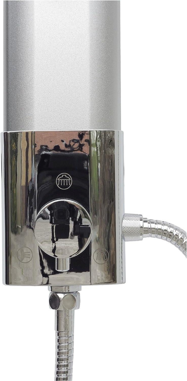 Duschs/äule Duschpaneel Brausepaneel Duschsystem gro/ße runde Led Regendusche Aluminium Duschgarnitur Dusch Set Handbrause Duschkopf Stabbrause Duscharmatur Eck und Wandmontage in Silber