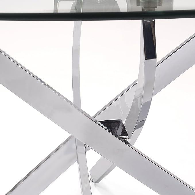 Mesa de Comedor Redonda Dalila Cristal Templado y pies de Metal Cromado (Cristal Canto Redondo 110 cm)