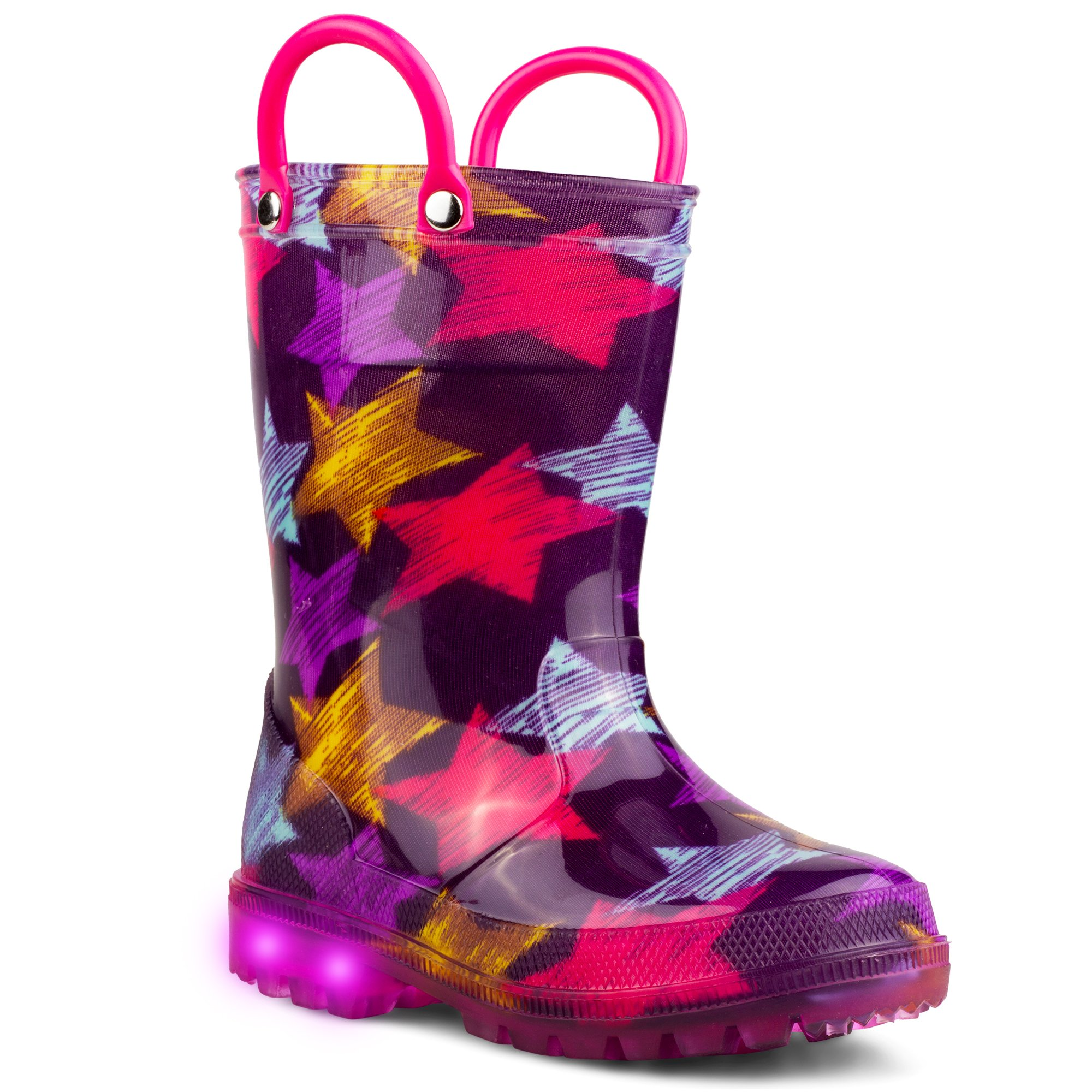 Chillipop Light Up Rainboots For Boys, Girls & Toddlers With Fun Kid Prints with 5 Lights, Purple, 10 M Toddler