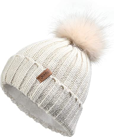 Women/'s Knit Cable Beanie With Side Buttons and Pom Pom