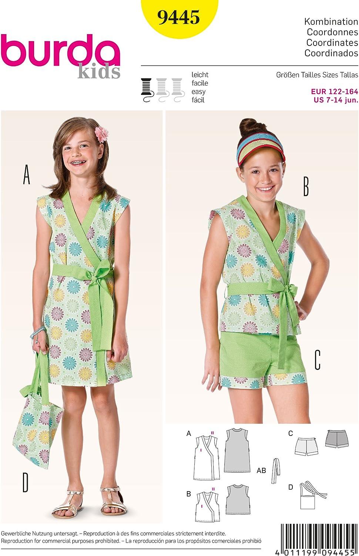 Wrapped Dress/Sizes 122-164 7-14 jun Burda Childrens Sewing Pattern 9445