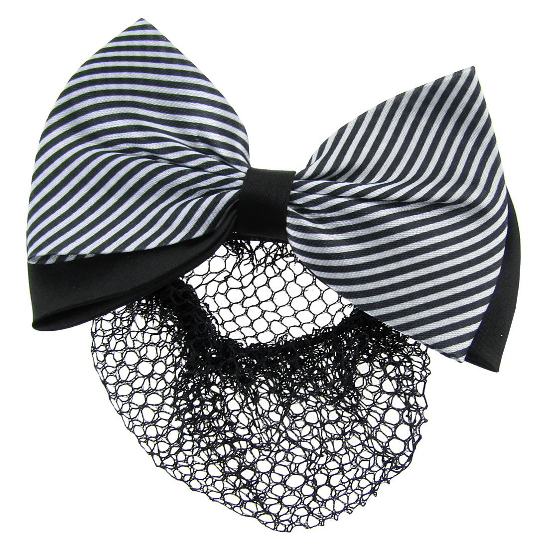 uxcell Black White Diagonal Striped Double Bow Barrette Hair Clip Bun Cover w Mesh Snood Bun Net US-SA-AJD-09248