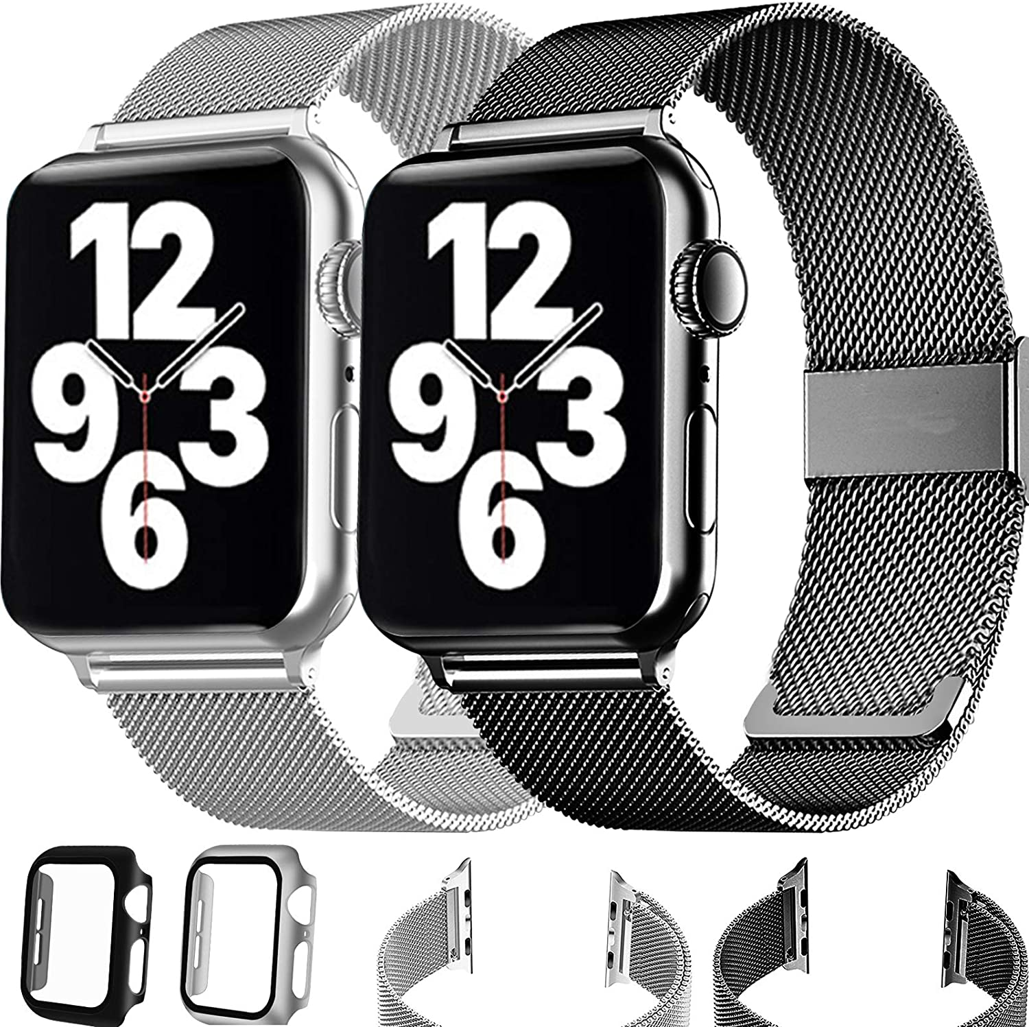 Magnetic Metal Bands Compatible with Apple Watch Bands 38mm 40mm 42mm 44mm with Case Women Men,Adjustable Stainless Steel Magnetic Strap for iWatch Series SE 6/5/4/3/2/1, 2Case and 2Band
