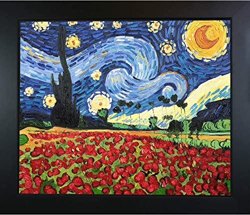 La Pastiche VG2667-FR-137B20X24 Framed Oil Painting Starry Poppies Collage Hand Painted Original by with New Age Wood Frame