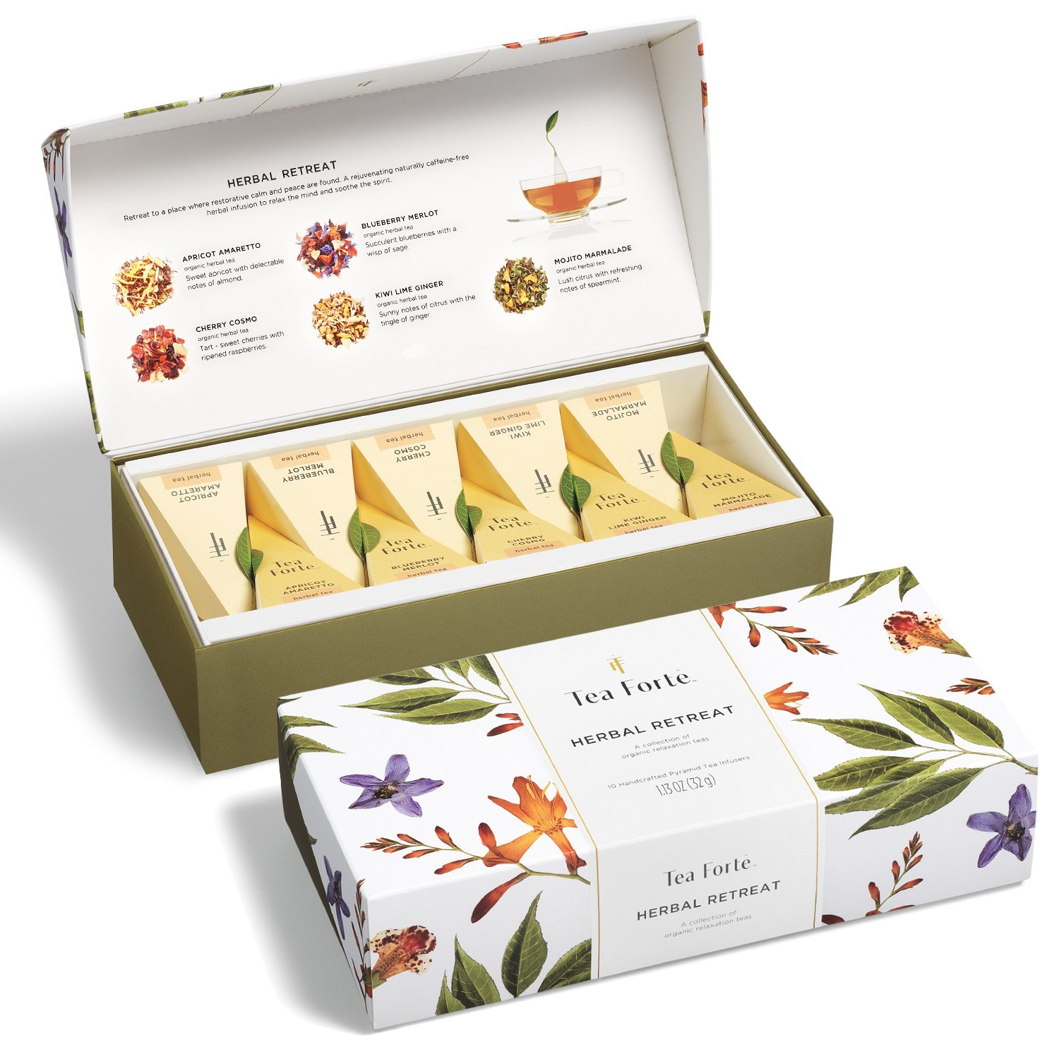 Tea Forté HERBAL RETREAT Petite Presentation Box Tea Sampler, Assorted Variety Tea Box, 10 Handcrafted Pyramid Tea Infusers - Relaxing Herbal Tea