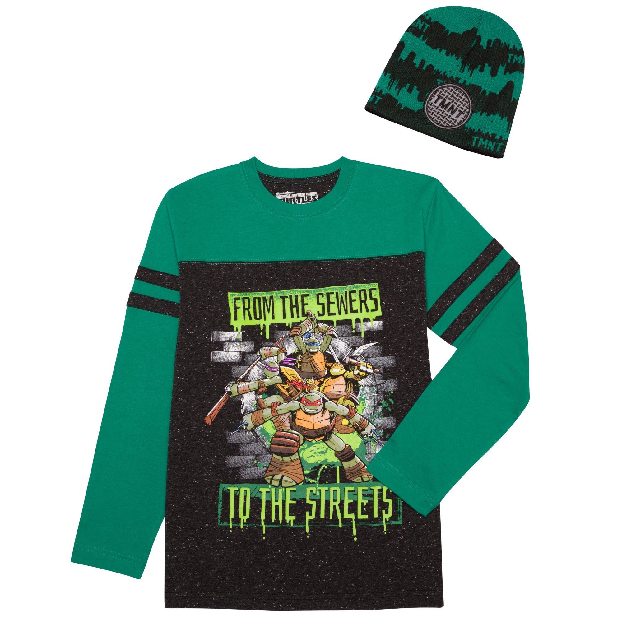Teenage Mutant Ninja Turtles Big Boys Long Sleeve Shirt & Beanie Hat Combo (Small 6/7)
