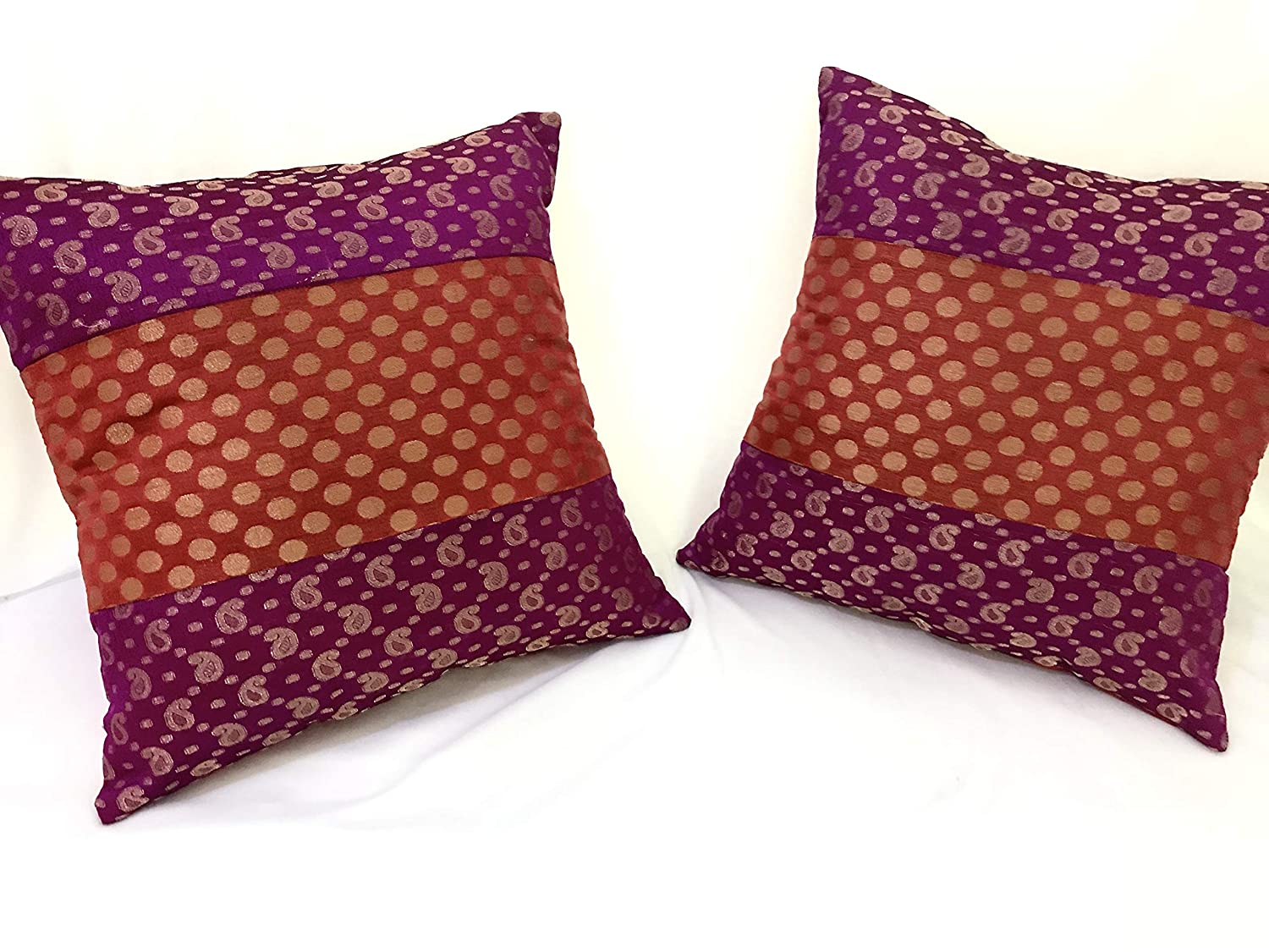 Buy Banarsi Brocade Cushion Cover - Purple, Pink & Gold Online at Low  Prices in India - Amazon.in