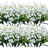 Grunyia Artificial Flowers, 20 Bundles Outdoor Fake Flowers for Decoration UV Resistant Faux Plastic Plants Garden Porch Wind