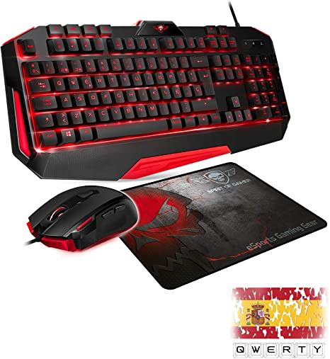 SPIRIT OF GAMER - PACK ES 3IN1 PRO MK3 QWERTY - Teclado de Jugador ...