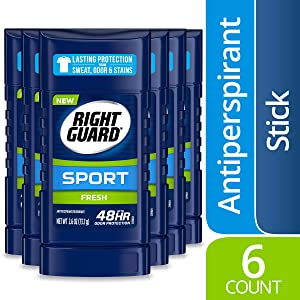 Right Guard Sport Antiperspirant Deodorant Invisible Solid Stick, Fresh, 2.6 Ounce (Pack of 6)