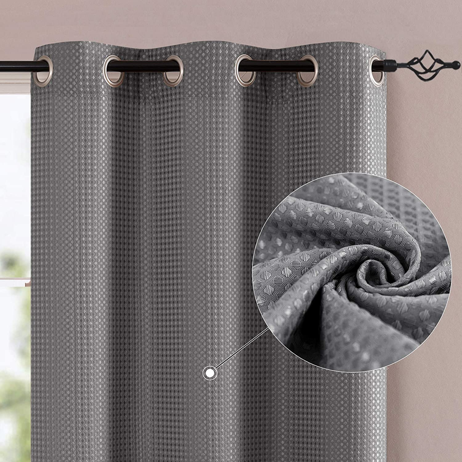 jinchan Grey Window Curtains for Bedroom 84 inches Length Waffle Weave Textured Privacy Curtain Panels for Living Room 2 Panels