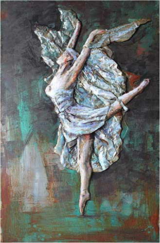 "Empire Art Direct ""Prima Ballerina"" Mixed Media Hand Painted Iron Wall Sculpture"