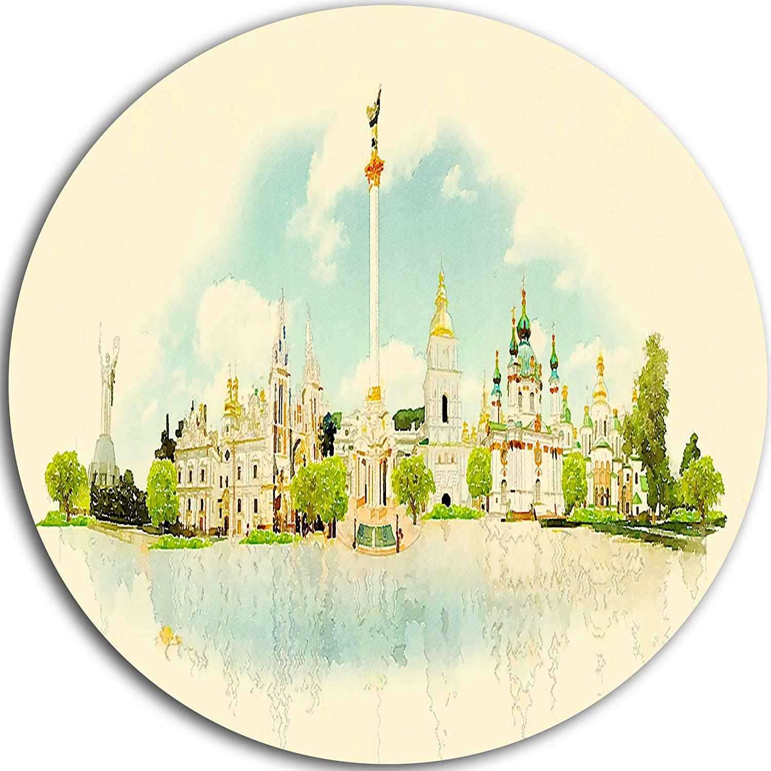 23 H x 23 W x 1 D 1P Beige//Green Cityscape Watercolor Circle MT7369-C23-Disc of 23 inch Designart Kiev Panoramic View