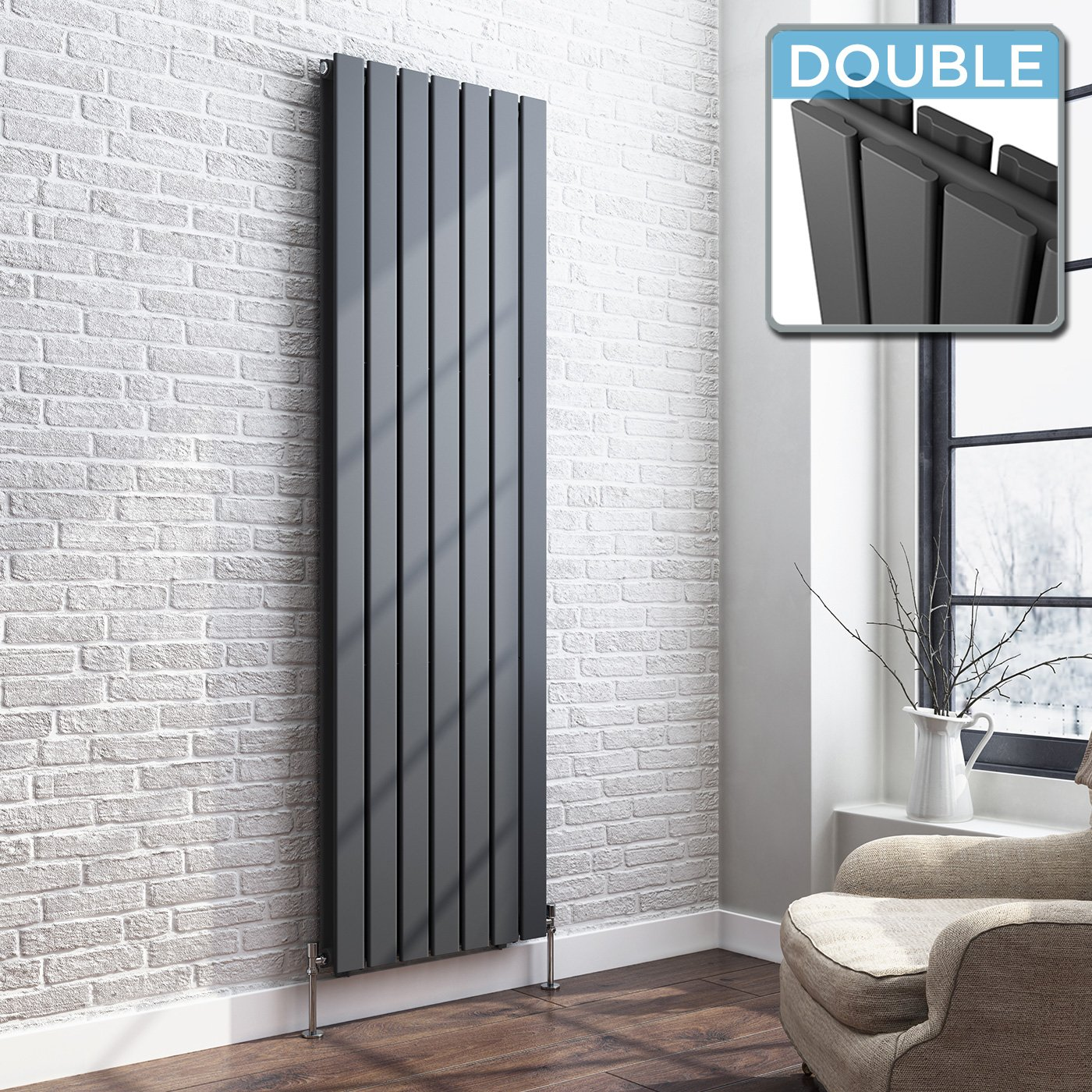 iBathUK 1800 x 300 Vertical Column Designer Radiator Anthracite Double Flat Panel