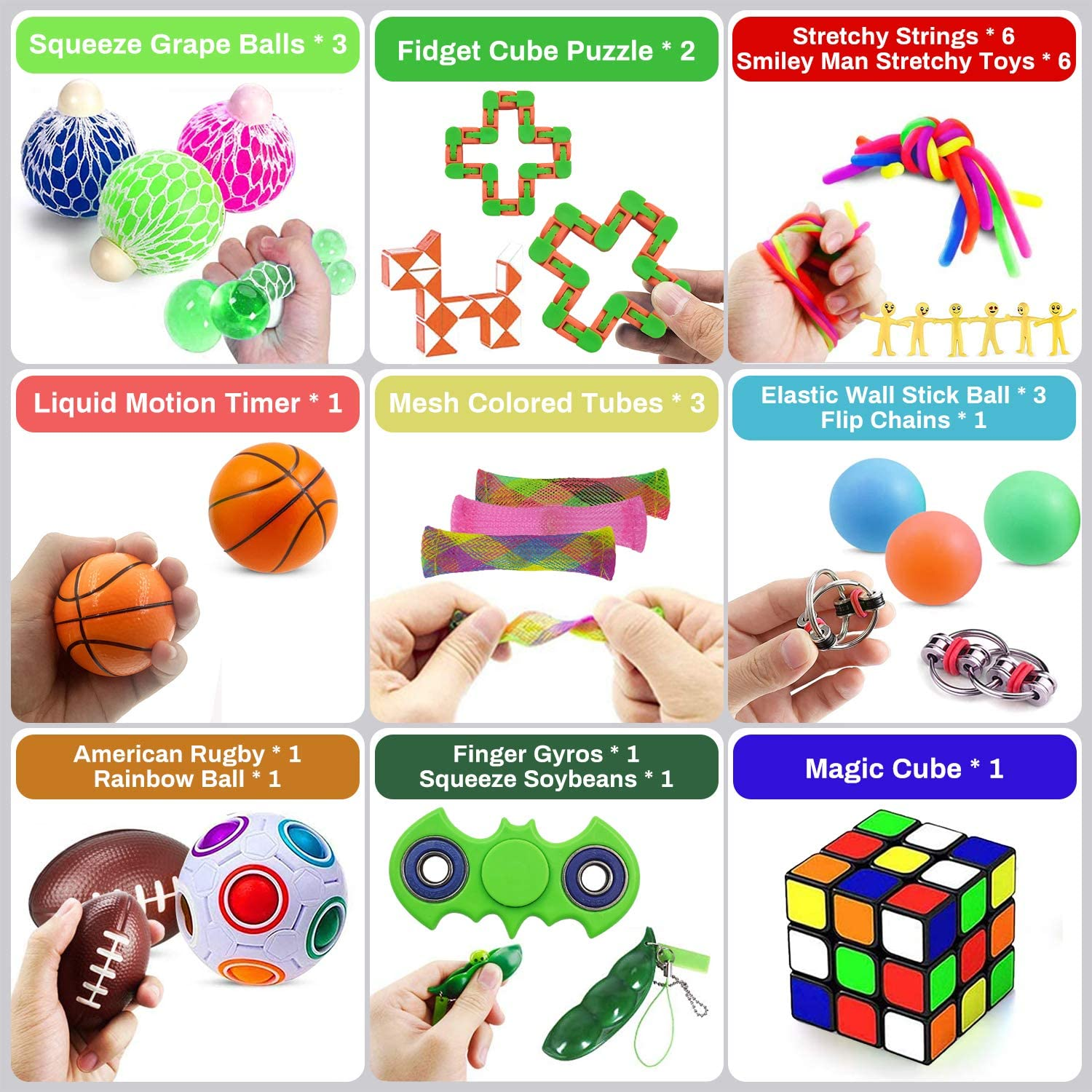 Squeeze Ball 31 Pack Sensory Fidget Toys Set Flippy Chain /& More Puzzle Motion Timer Stress Relief and Anti-Anxiety Tools Bundle for Kids and Adults ADHD Autism Stress Anxiety Rugby Magic Cube