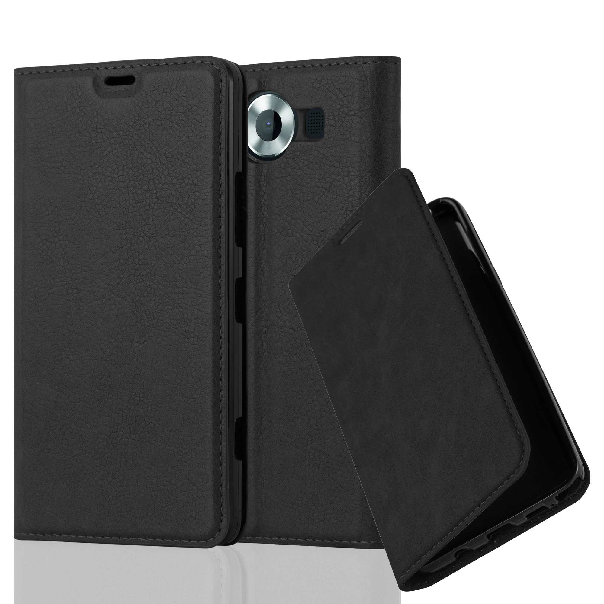 Cadorabo Case works with Nokia Lumia 950 Book Case in NIGHT BLACK (Design INVISIBLE CLOSURE) – with Magnetic Closure, Stand Function and Card Slot – Wallet Case Etui Cover PU Leather