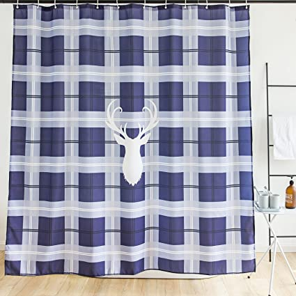 Orange Design Buffalo Plaid Shower Curtain White Deer Blue Checkered Check Pattern For Bathroom