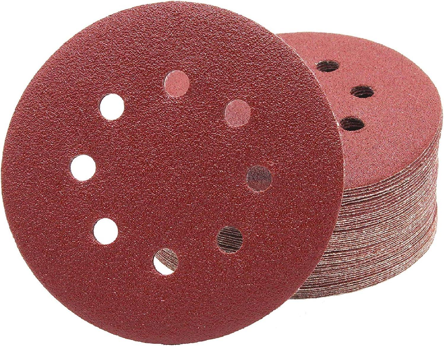 HYY-YY Lot de 160 disques abrasifs /à 8 trous de 12,7 cm pour ponceuse orbitale grain 40-2000